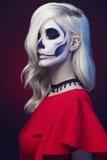 Halloween make-up woman stock photography
