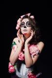 Halloween-make-upvrouw van Santa Muerte royalty-vrije stock afbeeldingen