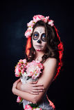 Halloween-make-upvrouw van Santa Muerte stock afbeeldingen