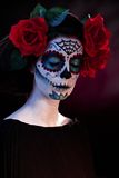 Halloween makeup Santa Muerte mask Royalty Free Stock Images