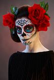 Halloween makeup Santa Muerte mask Royalty Free Stock Image