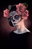 Halloween makeup Santa Muerte mask Stock Image