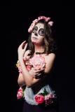 Halloween makeup woman of Santa Muerte stock images