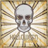 Halloween-malplaatje van het Partij het uitstekende ontwerp voor kaart, affiche, vlieger met schedel Royalty-vrije Stock Afbeeldingen