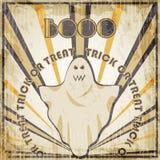 Halloween-malplaatje van het Partij het uitstekende ontwerp voor kaart, affiche, vlieger met spook Royalty-vrije Stock Foto