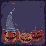 Halloween-malplaatje voor tekst met leuke pompoenen Stock Foto's
