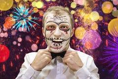 Halloween man ready for festive party. Portrait of halloween man with skelet. Happy halloween. Halloween man ready for festive party. Portrait of halloween man stock photos