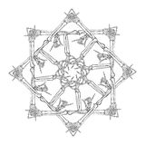 Halloween Mandala. Human hand bones arranged in an intricate gothic octagonal ornament. Tattoo design. Isolated on white background. EPS10 vector illustration vector illustration