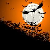 Halloween manie la batte la lune Photos stock