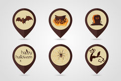 Halloween mapping pin icon set Royalty Free Stock Images