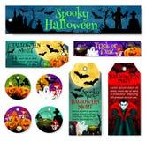 Halloween-markering en etiket van oktober-verschrikkingspartij vector illustratie