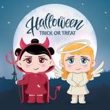 Halloween maskarada, śliczni dziecko kostiumy zabawne znaków Zaproszenie karta dla przyjęcia i sprzedaży Jesień wakacje ilustracji