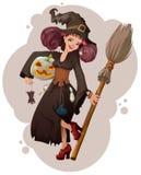 Halloween maskarada Piękna młodej kobiety czarownicy mienia mysz royalty ilustracja