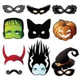 Halloween-Maskensammlung lokalisiert auf Weiß Lizenzfreies Stockfoto