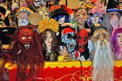 Halloween masks. Big shop for halloween masks and other equipment Stock Image