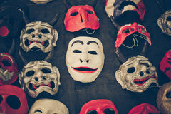 Halloween masks. Different types of masks laod down on the floor / halloween masks Royalty Free Stock Images