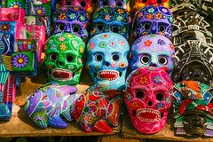 Halloween masks souvenir at Chichen Itza. Colourful masks for Halloween painted by creative craftsmen at Chichen Itza, Mexico Stock Image