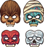 Halloween masks. Vector clip art illustration with simple gradients. Each on a separate layer Stock Images