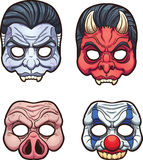 Halloween masks. Vector clip art illustration with simple gradients. Each on a separate layer Royalty Free Stock Photography