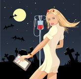 Halloween masquerad. Nurse-vampire costume, cemetery landcape Royalty Free Stock Photography
