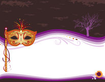 Halloween masquerade invitation with golden mask vector illustration