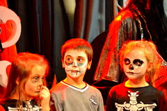 Halloween masquerade party children makeup Stock Images