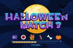 Halloween match3 en fondo Fije los iconos y el juego del cargamento, GUI Graphic Assets stock de ilustración