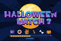 Halloween match3 on background. Set icons and loading game, GUI Graphic Assets. Halloween match3 on vector background. Set icons and loading game, GUI Graphic stock illustration