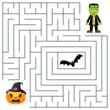 Halloween Maze - Frankenstein & Pumpkin Royalty Free Stock Images