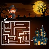 Halloween maze games find the girl witch to the ghost house Stock Illustration