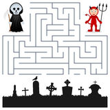 Halloween Maze - Grim Reaper & Devil. Halloween maze game for children. Help the Grim Reaper and the red Devil find the way to the cemetery to celebrate vector illustration