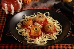 halloween meatballs royaltyfria foton