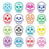 Halloween, Meksykańska cukrowa czaszka, Dia De Los Muertos - kreskówek ikony Zdjęcia Royalty Free