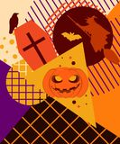 Halloween memphis college. Festive background with mystical creatures. And geometric figures in the style of the 80s. Vector illustration Stock Photos