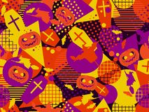 Halloween memphis seamless pattern. Festive background with mystical creatures and geometric figures a memphis. In the style of the 80s. Vector illustration Royalty Free Stock Photos