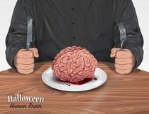 Halloween-Menü - menschliches Gehirn stock abbildung