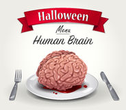 Halloween Menu - Human Brain. Vector illustration of Halloween menu - fresh human bloody brain on plate with silver fork and knife. Title Halloween on red ribbon Royalty Free Stock Image
