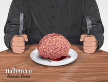 Halloween Menu - Human Brain. Vector illustration of Man in black shirt sitting at a table with a Halloween menu - Human brain on plate - on a wooden table Stock Photos