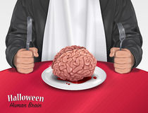 Halloween Menu - Human Brain. Vector illustration of Man in suit and white bib sitting at a table with a Halloween menu - Human brain on plate - on a red Royalty Free Stock Photos