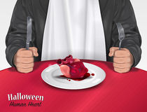 Halloween Menu - Human Heart. Vector illustration of rich noble Man in black suit with white bib sitting, holding silver fork and knife at a table with a Stock Photos