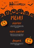 Halloween-menuontwerp stock illustratie