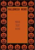 Halloween-menuontwerp met pompoenpatroon Stock Afbeeldingen