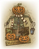 Halloween-met de hand getrokken illustratie Stock Afbeelding