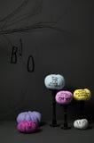 Halloween met pompoen en boom Stock Foto