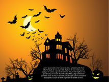 Halloween met spookhuis vector illustratie