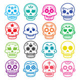 Halloween, Mexican sugar skull, Dia de los Muertos - cartoon icons Royalty Free Stock Photos