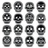 Halloween, Mexican sugar skull, Dia de los Muertos - cartoon icons Royalty Free Stock Photo