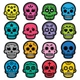 Halloween, Mexican sugar skull, Dia de los Muertos - cartoon icons royalty free illustration