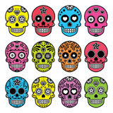 Halloween Mexican sugar skull, Dia de los Muertos icons set Stock Image
