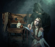 Halloween. The Middle Ages. Witch sign a verdict of the Inquisit Stock Image